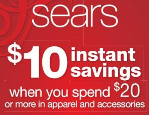 sears is now offering a coupon valid for 10 off any purchase over 20 this coupon is good to be used in stores and today only 1222