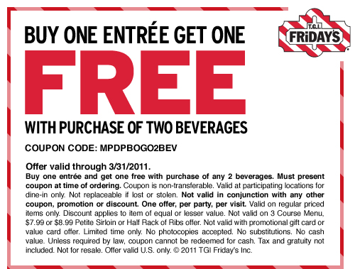 picture about Tgifridays Printable Coupons titled T.G.I. Fridays: B1G1 Printable Coupon :: Southern Savers