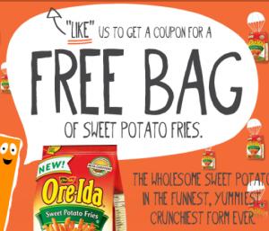 Free Bag of Oreida Sweet Potato Fries