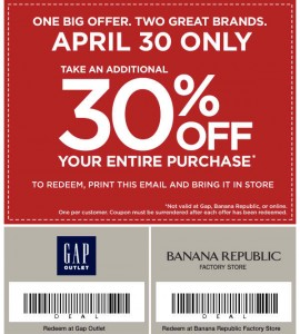 graphic about Gap Factory Printable Coupon identify Hole Outlet and Banana Republic Manufacturing unit Keep Coupon 30% off