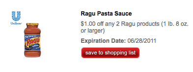 Ragu Printable Coupon