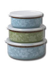 Enamel-on-Steel Bowls w/Lids, Set of 3, Small