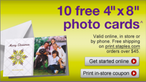 Staples Coupon for Free Photo Cards