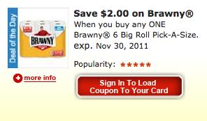 Kroger Cartbuster eCoupon for Brawny