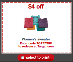 Target Coupon for Sweaters