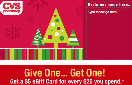 Cvs Gift Cards 5 Free Gift Card Wyb 25 Card Southern Savers