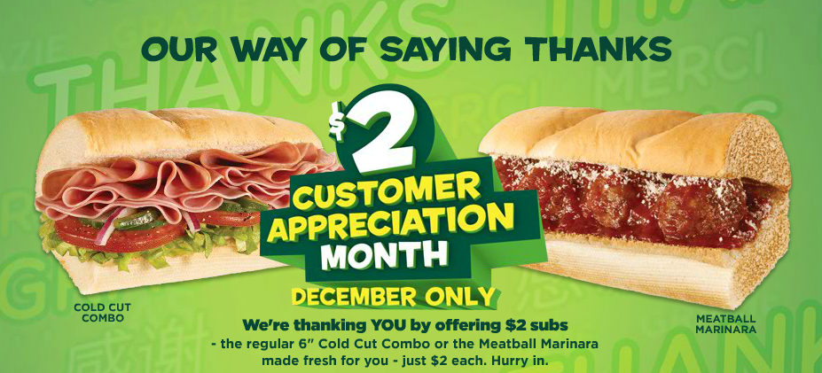 Subway Deal: $2 Cold Cut Combo And Meatball Subs