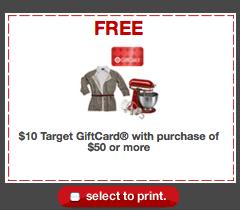 Target $10 off Coupon