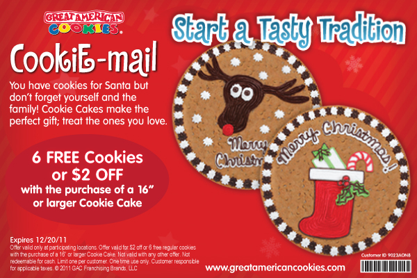The Great American Cookie Company Top coupons we present here can be applied to both online and in-store shopping. As we aim to provide comprehensive coupons including online coupon codes, in-store coupons, printable coupons, special deals, promo codes etc., you can surely find the most suitable ones among the wide range of available deals.