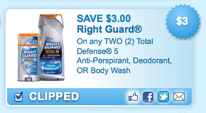 $3 off 2 Right Guard Coupon