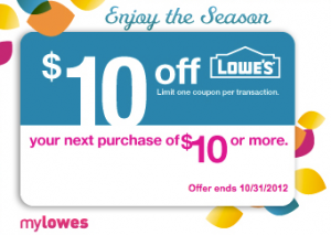 10 off lowes coupon