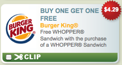 Burger King B1G1 Coupon