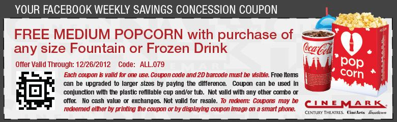 Cinemark: Free Medium Popcorn with Purchase of a Drink ... | 780 x 240 jpeg 66kB