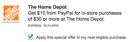 Home Depot Paypal Coupon