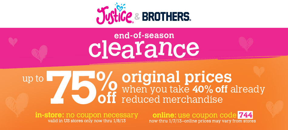 Justice clothing coupons online