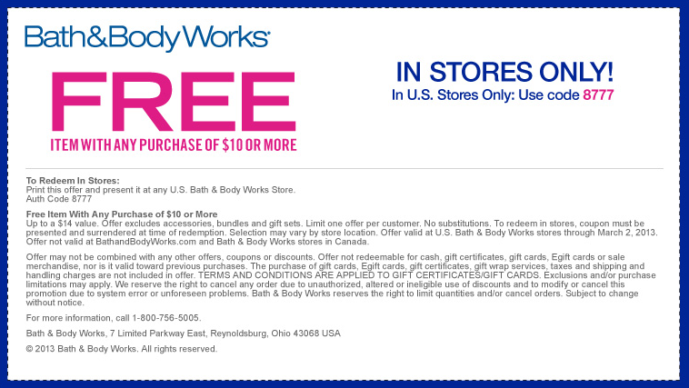 Bath And Body Works Free Item With 10 Purchase