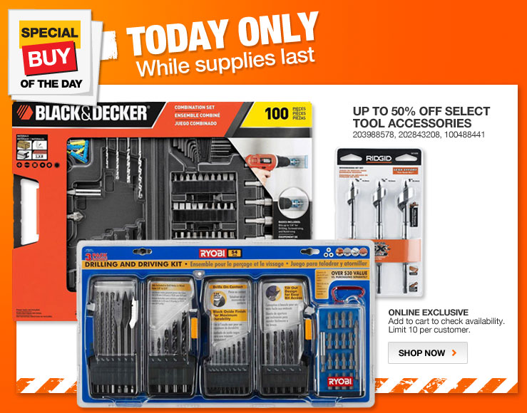 Home depot daily deal 50 off drill accessories 3 13 for Deals by depot
