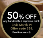 Starbucks Coupon for 50 Percent Off
