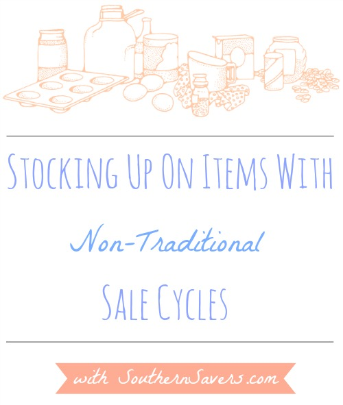 Things like baking ingredients, produce, holiday-specific foods and more run on non-traditional sale cycles.  Learn when to buy so you can get the best deal.