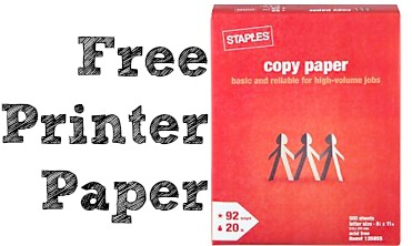 Free Printer Paper at Staples