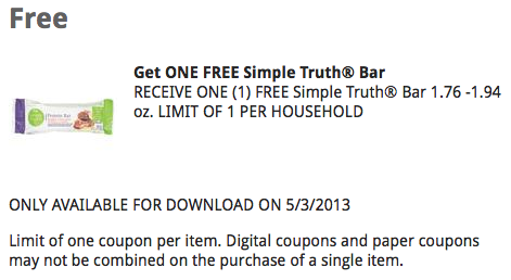 Kroger eCoupon Free Simple Truth Bar