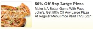 Papa Johns Coupon Code  50 Off