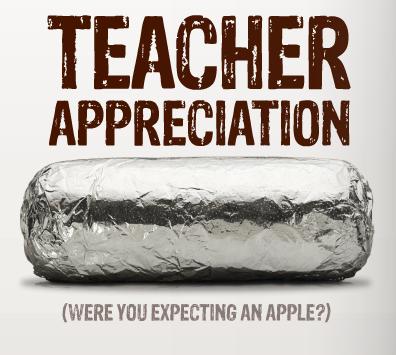 Chipotle Teacher Appreciation Week: Teacher Appreciation Day Deals  Chipotle  New York & Company    ,