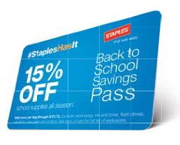Staples Back to School Savings Pass