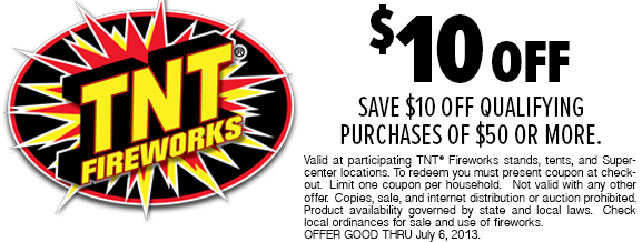 picture about Tnt Fireworks Coupons Printable named TNT Fireworks Coupon: $10 off $50 Buy :: Southern Savers