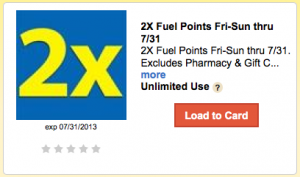 Kroger 2X Fuel Points Coupon