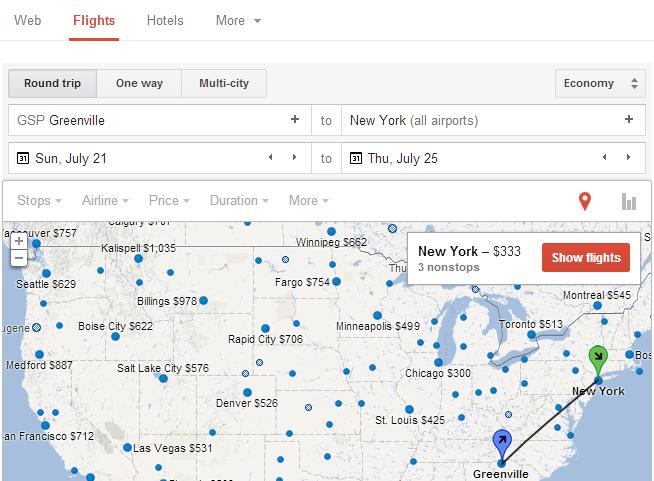 Google Flight - Southern Savers