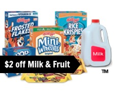 Print great coupons for $2 off Milk, Fruit and Yogurt from Kellogg's