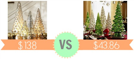 heres a pottery barn look alike just in time for christmas huge savings expensive lit mercury glass tree - Mercury Glass Christmas Trees