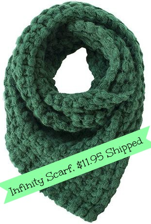 It's almost time to start bundling up!  Grab this exclusive offer for an infinity scarf for only $11.95 shipped!
