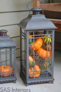 Fall Lanterns with pumpkins, gourds and pine cones!