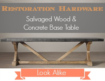 Restoration Hardware Look Alike Salvaged Wood Concrete Base Table