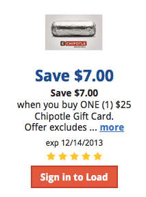 Kroger eCoupon - Get $7 off Chiptole Gift Cards