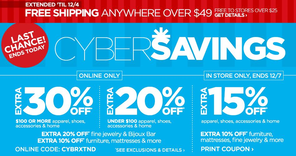 134ca6e2b0 JCPenney Cyber Savings  Up to 30% Off (Today Only)    Southern Savers