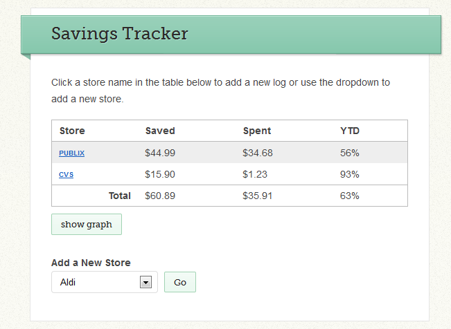 savings track with info