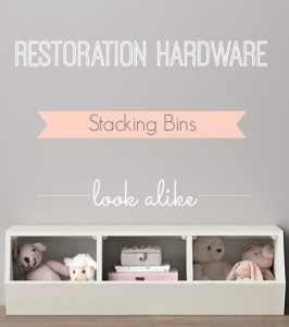 Restoration Hardware stacking bins look alike.  Inexpensive stacking bins, toy bins, storage bins.