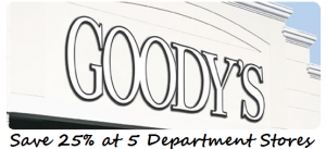 picture relating to Goodys Printable Coupons known as Coupon for 25% off at Bealls, Goodys, Palais Royal, Peebles