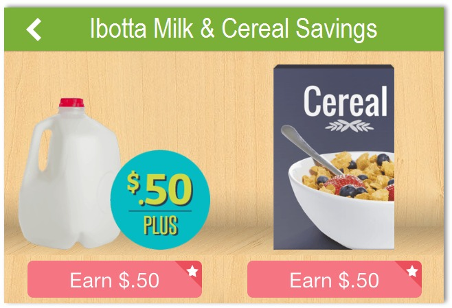ibotta milk and cereal savings