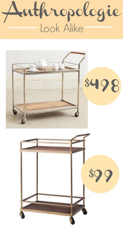 Anthropologie wooden bar cart look alike and uses for carts.
