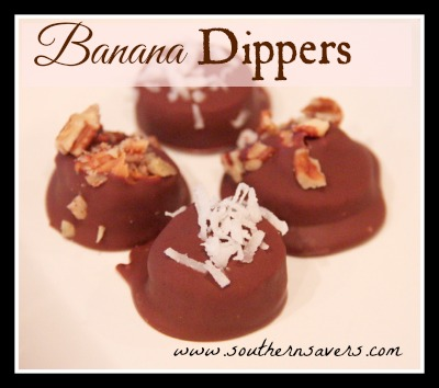 Easy recipe to make your own Banana Dippers.  Takes 5 minutes and simple for the kids to help with!