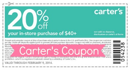 carter 39 s coupon 20 off any in store purchase of 40 southern savers. Black Bedroom Furniture Sets. Home Design Ideas