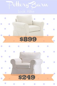 Frugal, inexpensive Pottery Barn Slipcovered Comfort Chair look alike from Ikea!
