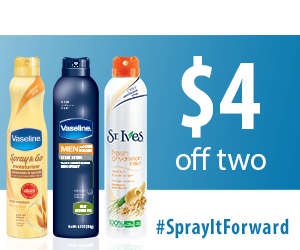 picture about St.ives Printable Coupons identified as Refreshing Vaseline Coupon: $2 off Vaseline or St. Ives Spray