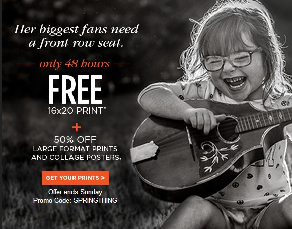 Shutterfly Coupon Code: Free 16x20 photo print