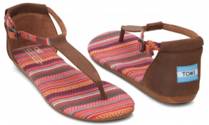 toms shoes Brown Leather Woven Women's Playa Sandals