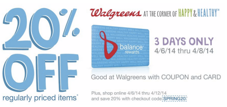 Walgreens Coupon: 20% off entire purchase